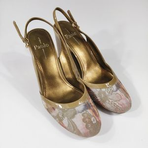 Linea Paolo floral gold slingback heel size 9.5